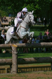 Gemma Tattersall and Jesters Quest jump the Open Ditch during the cross-country phase of Badminton Horse Trials 2007.