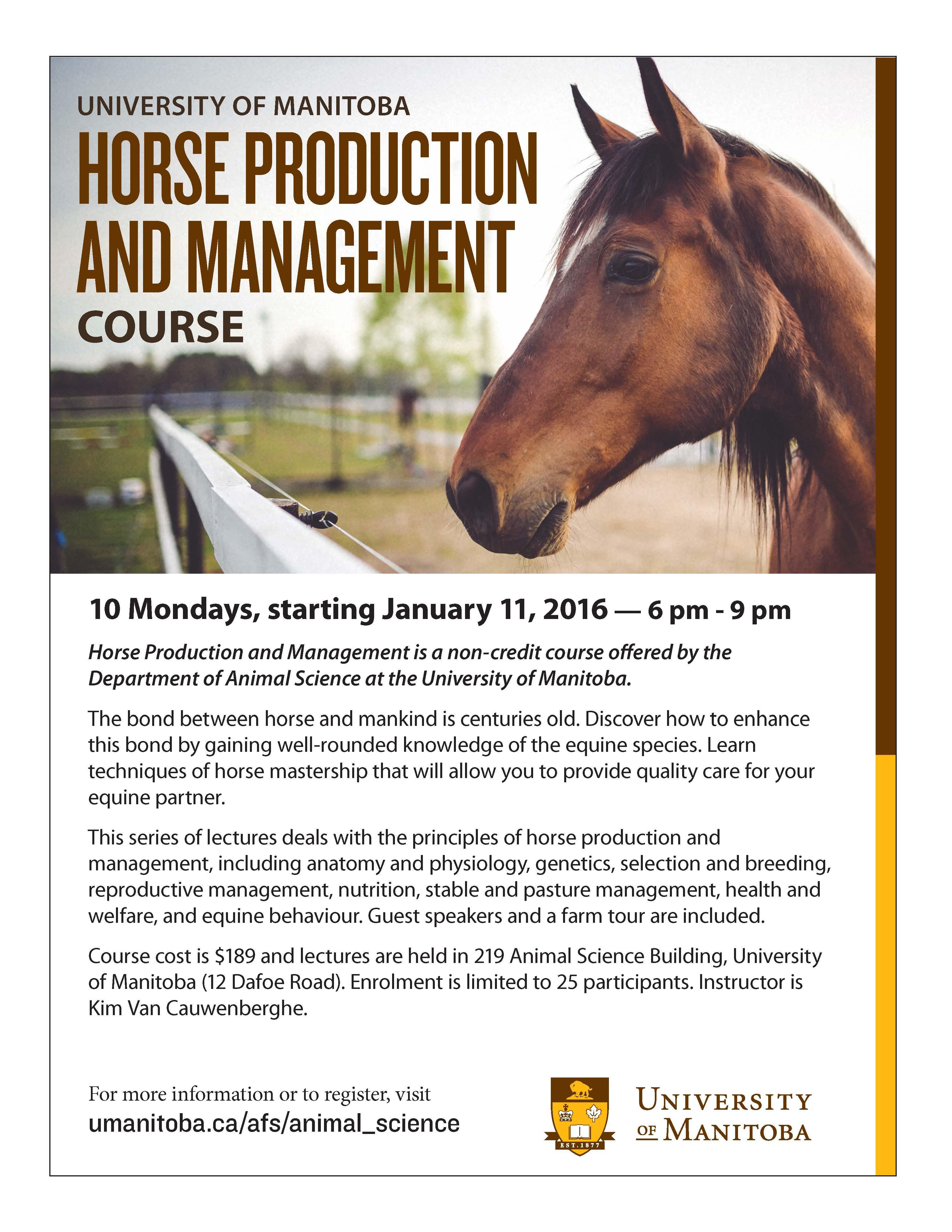Horse Production and Management Course @ University of Manitoba ...